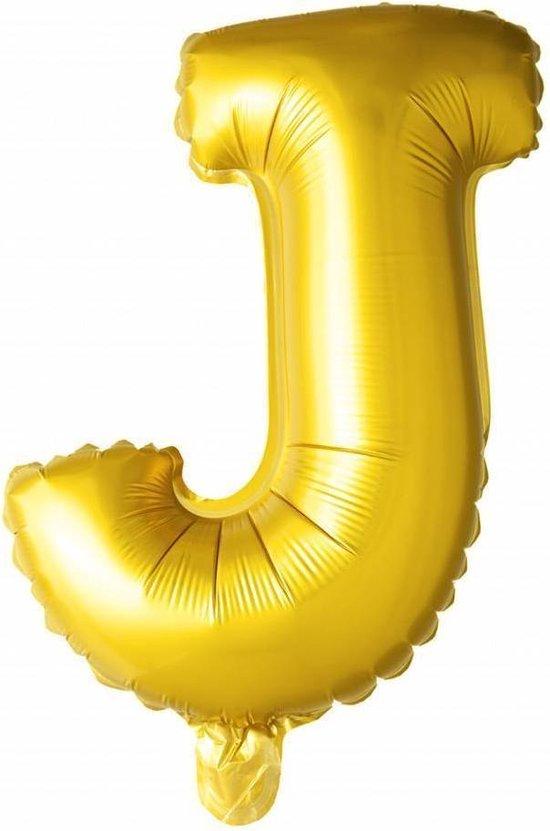 Folie Ballon Letter J Goud 41cm met Rietje