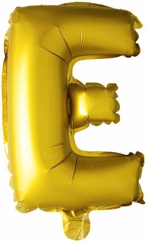 Folie Ballon Letter E Goud 41cm met Rietje
