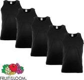 5 Pack Fruit of the Loom Valueweight Sportshirt-Onderhemd Zwart Maat XXL