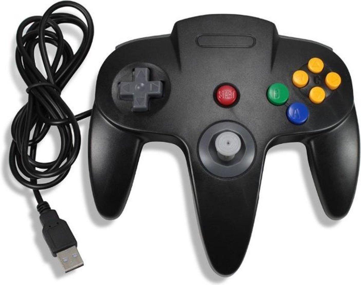 Coretek Nintendo 64 (N64) style USB controller voor PC, notebook en emulator / zwart – 1,35 meter