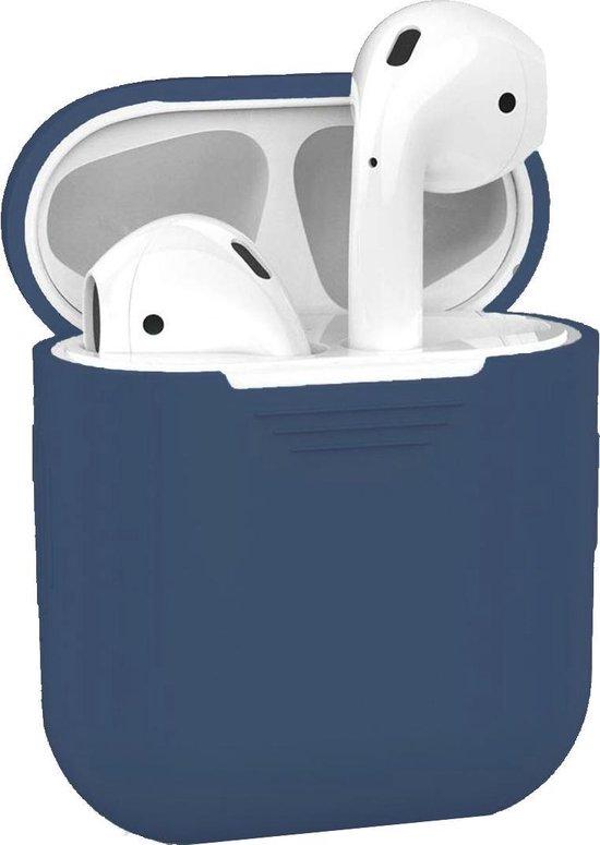 Afbeelding van Hoes voor Apple AirPods Hoesje Siliconen Case Cover - Blauw Grijs