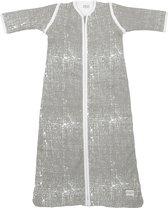Meyco Fine Lines babyslaapzak met afritsbare mouw gevoerd - 110 cm - Lichtgrijs