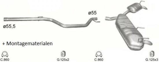 Complete Uitlaat Opel Vectra C 3.0D 2005 - Heden (Set2173)