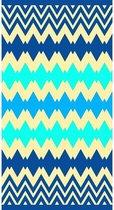 Luxe badlaken/strandlaken handdoek 90 x 170 cm - Kenton blauw zigzag print