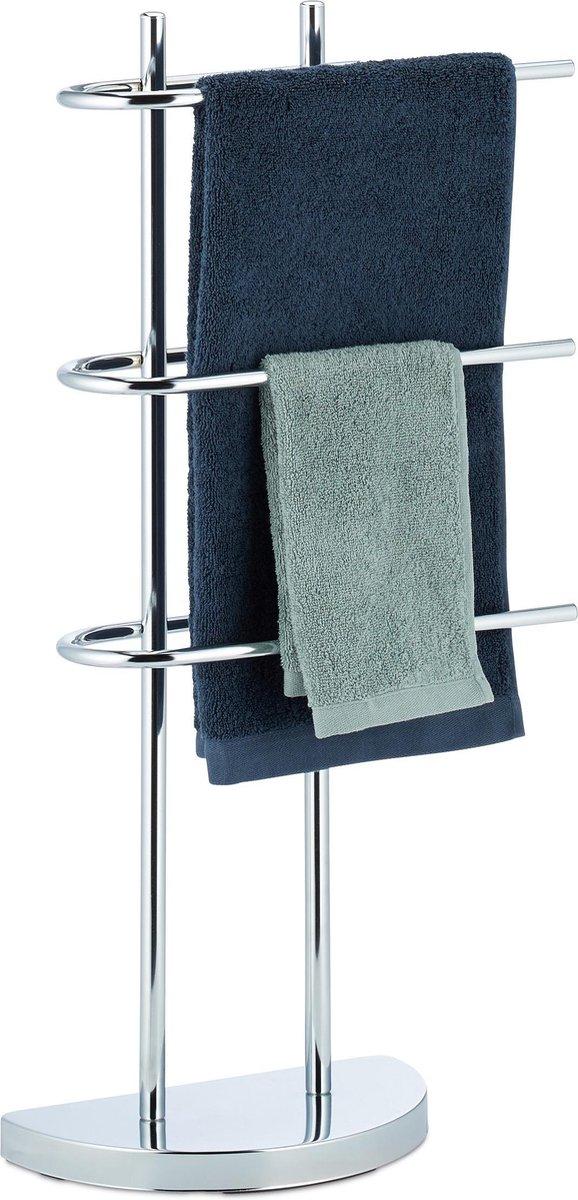 relaxdays handdoekhouder chroom - handdoekenrek driearmig - handdoekdrager - vrijstaand