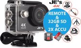 Action Camera JC's 9R 4K Ultra HD + Afstandsbediening + Wifi +  & 16MP foto met OmniVision Chipsensor 4689 + Sandisk 32GB SD + Extra Accu + Borstband + Hoofdband + Selfie Stick + Dual accu lader + Tripod statief