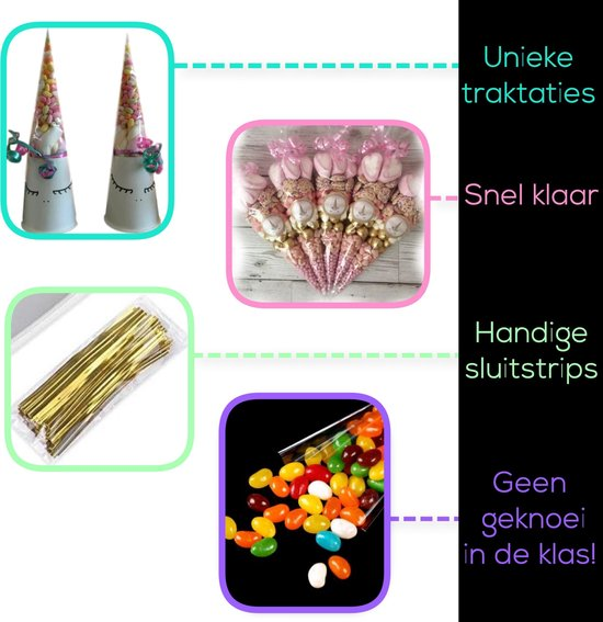 Glim - Traktatie zakjes - Puntzakjes transparant - Puntzak doorzichtig - Snoepzakjes - 100 puntzakken - 25*13 cm -