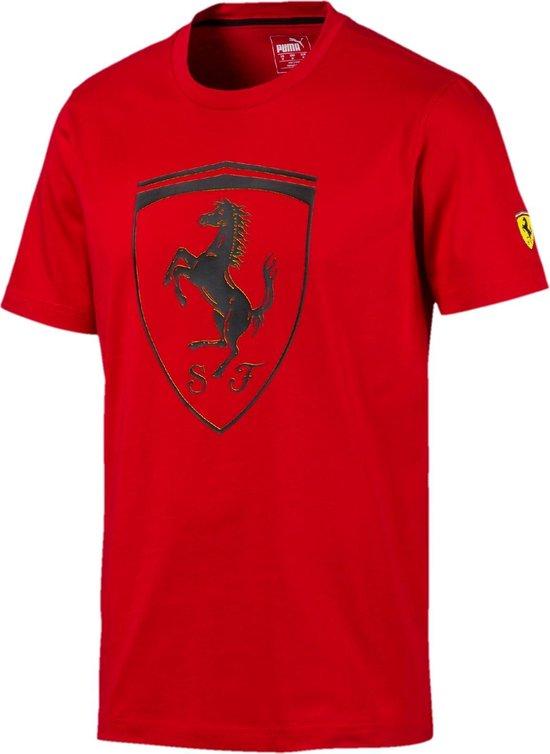 PUMA Ferrari Big Shield Tee Heren Sportshirt - Rosso Corsa - Maat XL