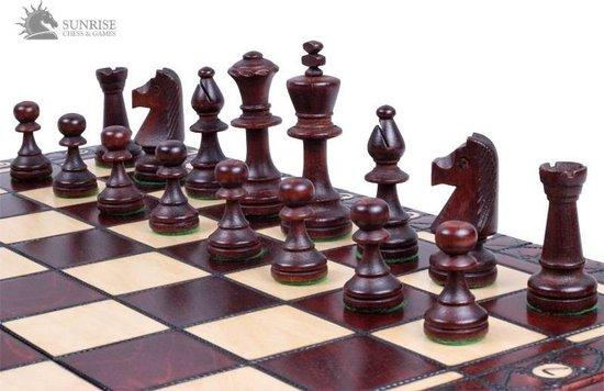 Thumbnail van een extra afbeelding van het spel Sunrise-schaakbord met schaakstukken – Schaakspel -49x49cm. Luxe uitvoering