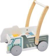 Mamabrum Baby Walker met Houten Blokken - Speelgoed Auto - Loopkarretje Duwkar - Duw Wagen Kar - Loophulp Duwwagen Looprek
