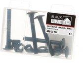 Slotbouten zwart m8X70 Blister(5)