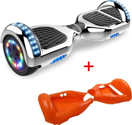 Evercross 6.5 inch Hoverboard met Flits Wielen + TAOTAO moederbord, Elektrische Zelfbalancerende Scooter,Bluetooth Speaker,LED verlichting - Zilver Chroom + Gratis Beschermhoes Dubbelzijdig Oranje