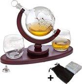 Premium Whiskey Karaf Set - Whisky Decanteerkaraf - Globe Decanter met 2 wereldbol glazen & 9 wiskey stone