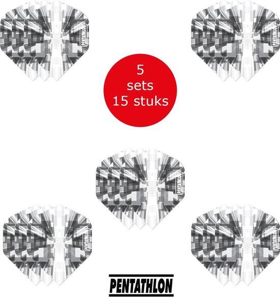 Dragon Darts - 5 sets (15 stuks) Pentathlon Explosion - darts flights - super stevig - zwart - dartflights - dart flights