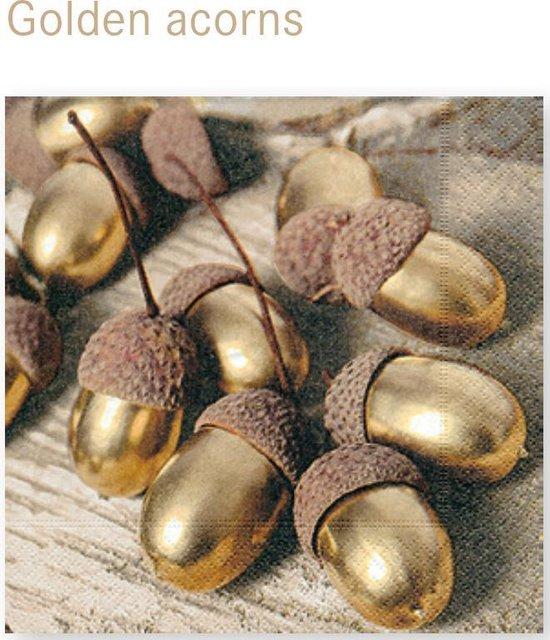 LUNCH SERVETTEN 33x33cm Golden acorns