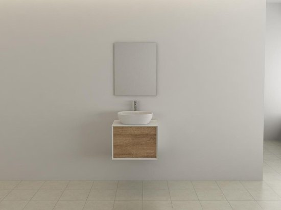 Frameline Badkamermeubel   60cm   Inclusief wasbak   Wastafelonderkast   Spiegel   Minimalistisch Design