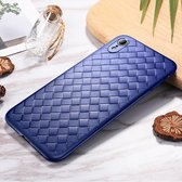 Let op type!! ROCK Slim Weave Style TPU Soft Case for iPhone XR (Blue)