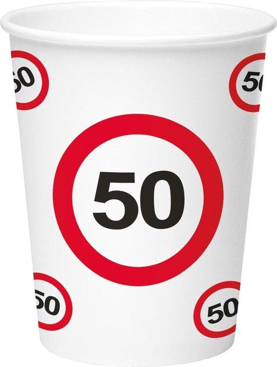 50 Jaar Verkeersbord Papieren Bekers 350ml - 8 stuks