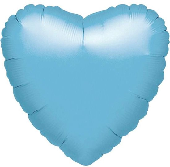 Standard Heart Iridescent Pearl Light Blue Foil Balloon S15 Bulk 43 cm