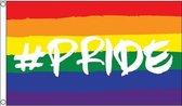 Regenboog LGBT vlag 90 x 150 cm hashtag pride - Gay pride/parade feestversiering/feestdecoratie artikelen
