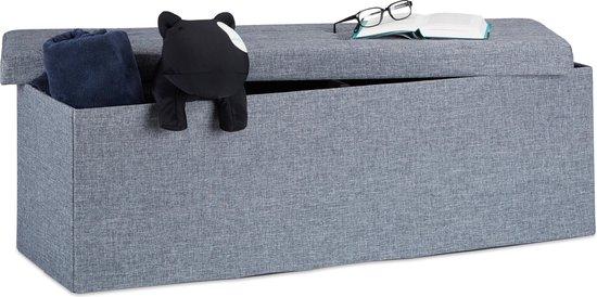 relaxdays Opvouwbare bank + opslag - Bankje linnen - Zitbank grijs of bruin - 114x38x38 cm - Relaxdays