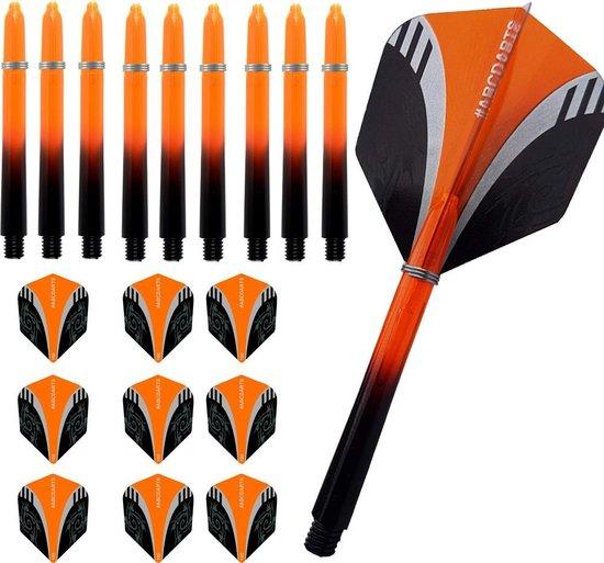 ABC Dart Flights en Darts Shafts Medium - Tribal oranje - 3 sets