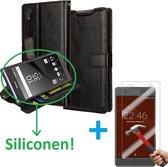 Cyclone Cover wallet hoesje Sony Xperia XZ en XZs zwart met Tempered Glas Screen protector