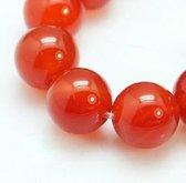 Natuurstenen kralen, rood Agaat, ronde kralen van 8mm. Verkocht per streng van ca. 20cm