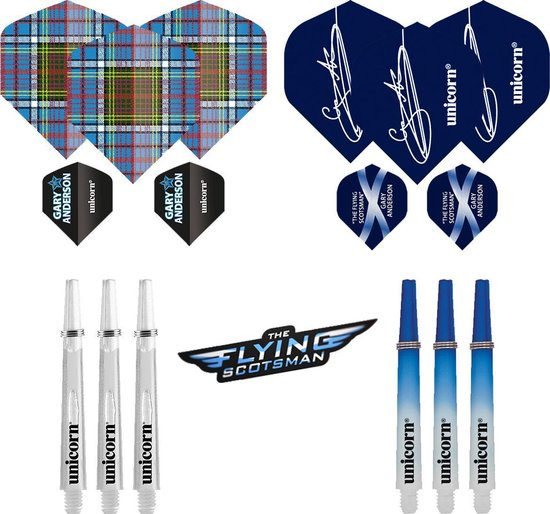 Dragon darts - Gary Anderson - accessoires kit - dart shafts - dart flights -12 pcs