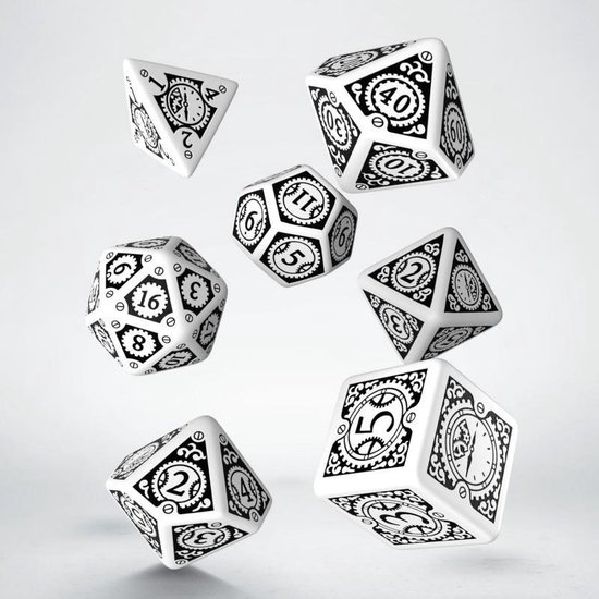 Afbeelding van het spel Steampunk Clockwork White & black Dice Set
