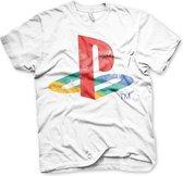 PLAYSTATION - T-Shirt Distressed Logo - WHITE (M)