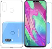 Samsung Galaxy A40 Hoesje Transparant TPU Siliconen Soft Case + Tempered Glass Screenprotector