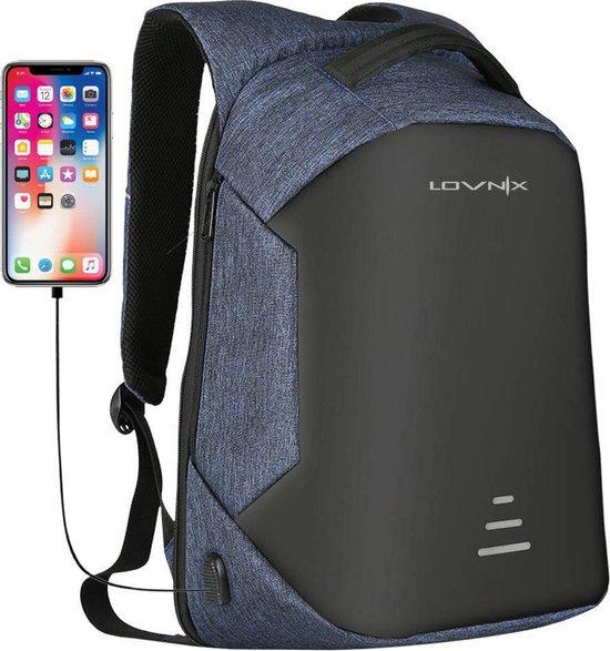 Lovnix - Anti Diefstal Rugzak - Inclusief Usb Oplaadstation en 3.5mm Audio Jack - 15 inch laptopvak - Blauw
