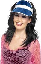 Eighties Jaren 80 verkleed zonneklep/sunvisor in het blauw voor dames
