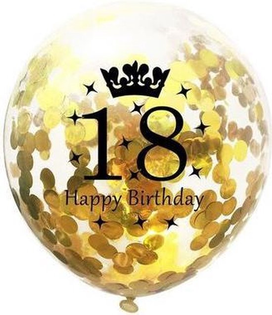Confetti ballon - 31cm - 5 stuks - Goud - 18 jaar