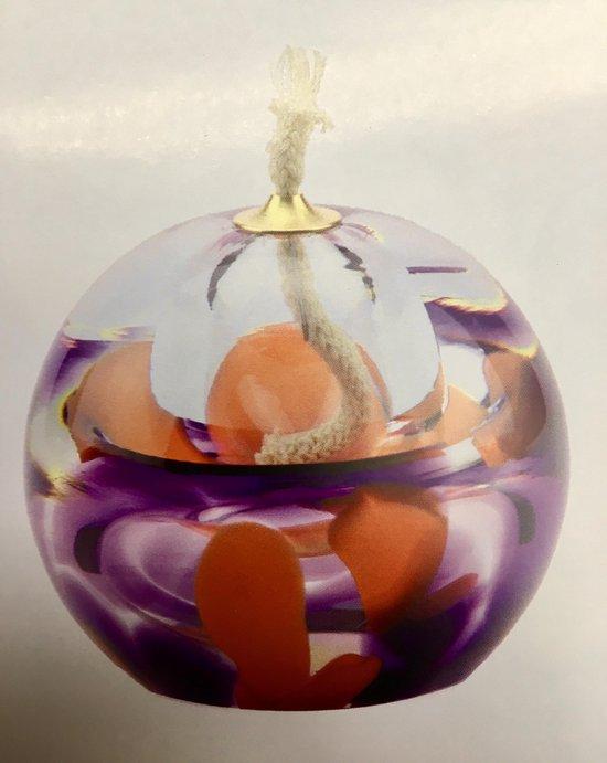 """Glazen urn. Asbestemming. """"Olielampje"""" paars-oranje. 8 cm hoog."""