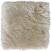Stoelkussen - zitkussen schapenvacht taupe - vierkant vierkant - stoelpad - zetelkussen