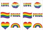 12x Regenboog gay pride kleuren nep tattoos/tatoeages 5 x 5 cm - Regenboogvlag LHBT accessoires