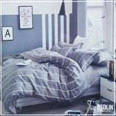 Dekbedovertrek 240 x 220cm Micropercal Lits-Jumeaux Bedlin Grey Lines