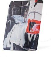 Apple iPad Hoes - Smart Cover- Voor de iPad Air 2 - Kunst 'Abstract Artistiek Zwart en Rood' Wit - Uniek design