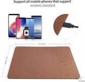 Qi Wireless Charger Muismat Leder Bruin - Draadloze Oplader - Game - Smartphones - Samsung - Apple - Huawei