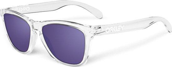 Oakley Frogskins - Zonnebril - Wayfarer - Polished Clear Frame / Violet Iridium Lens
