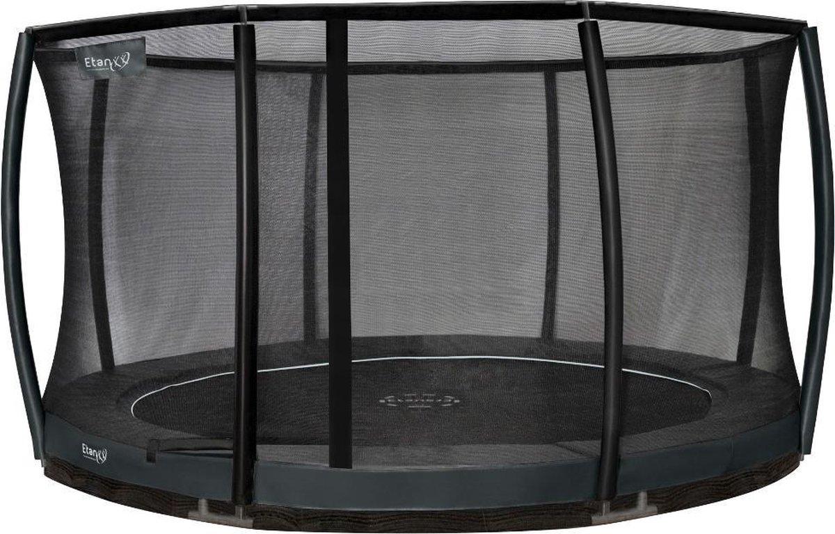 Etan Premium Gold Combi Deluxe Inground Trampoline Set - Ø 427 cm - incl. Deluxe Veiligheidsnet - UV-bestendig Randkussen - Grijs - Rond