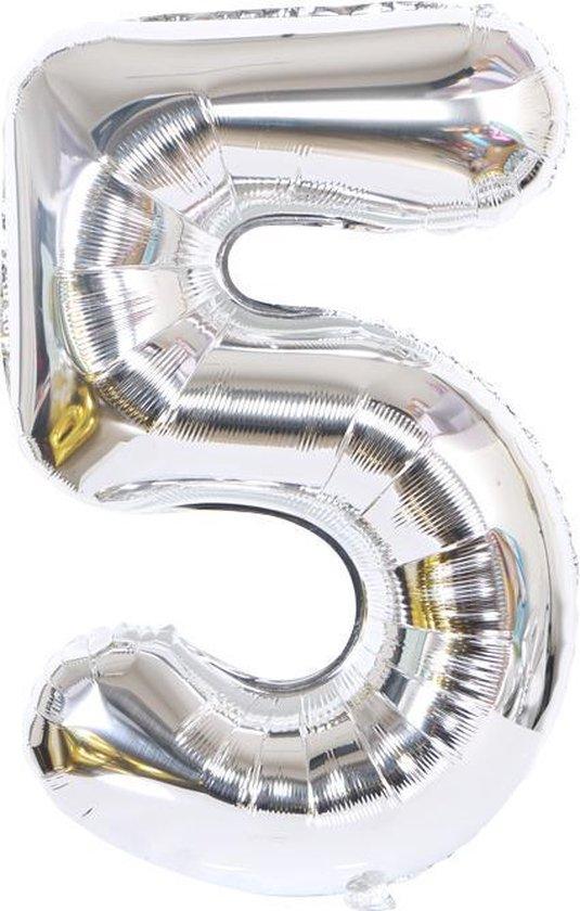 Cijferballon 80 cm zilver nummer 5 | nummerballon | nummer ballon | cijfer ballon