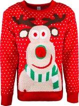 JAP Foute kersttrui - Rudolf met 3D neus voor kinderen - 4 - 8 jaar - Rood