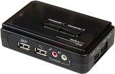 StarTech.com 2-poort USB KVM-switch Zwart met Audio en Bekabeling