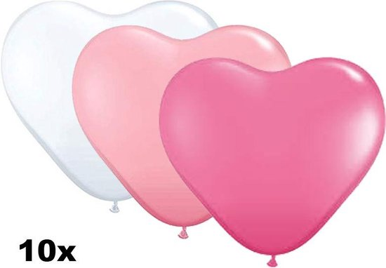 Hartjes ballonnen mix wit, roze en donkerroze, 10 stuks, 28 cm