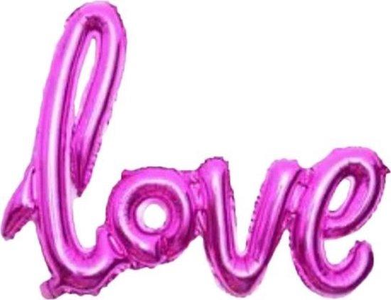 Folie ballon fuchsia als tekst love 108*65.5 cm