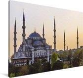 Zonsondergang in Istanbul Canvas 140x90 cm - Foto print op Canvas schilderij (Wanddecoratie woonkamer / slaapkamer)
