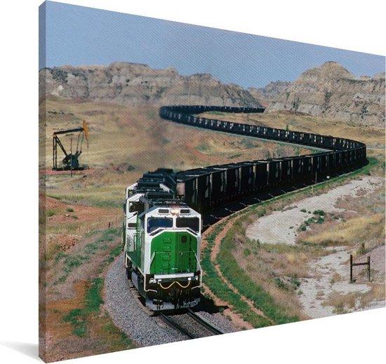 Een lange stoomlocomotief in de Verenigde Staten Canvas 60x40 cm - Foto print op Canvas schilderij (Wanddecoratie woonkamer / slaapkamer)